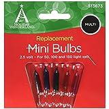 NOMA/INLITEN-IMPORT Mini Christmas Lights Replacement Bulb, For 50, 100 & 150-Light Sets, Multi-Color, 2.5-Volt