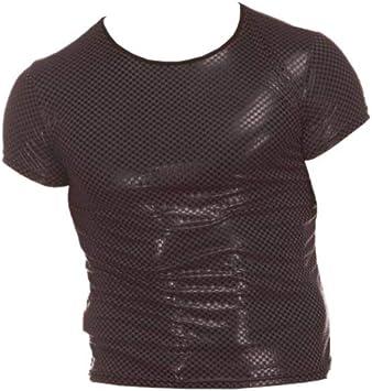 Milisten Hombre Sexy Charol Camiseta de Cuero Metalizado ...