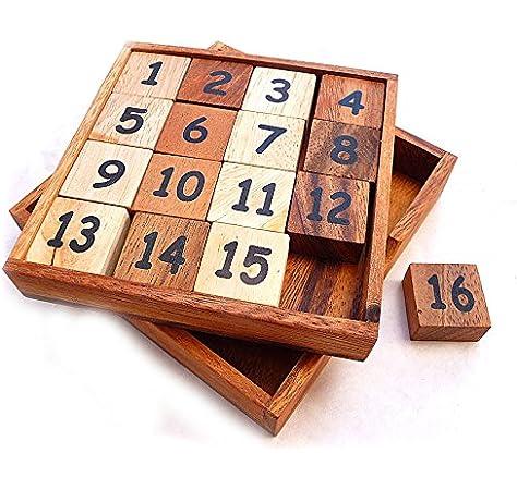 LOGICA GIOCHI Art. Puzzle 15+16 - Slide Puzzle - Juego del 15 - 2 Retos en 1 - Rompecabezas Deslizante de Madera: Amazon.es: Juguetes y juegos