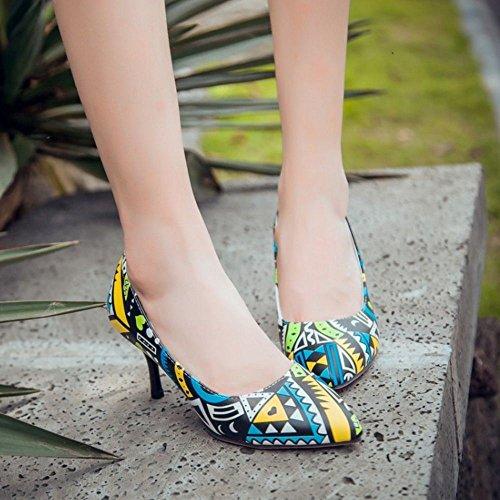 COOLCEPT Zapatos Mujer Moda Verano Style Puntiagudo Tacon de Aguja Tacon Alto Sexy Vestir Bombas Zapatos Amarillo