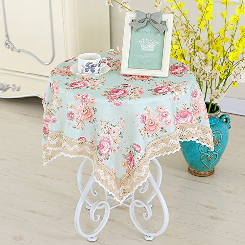 Table Cloth Round Table Cloth Cotton Cloth Garden Floral Small Fresh Rectangular Square Cloth Book,Faint Fragrance Of Flowers Green,100×100Cm