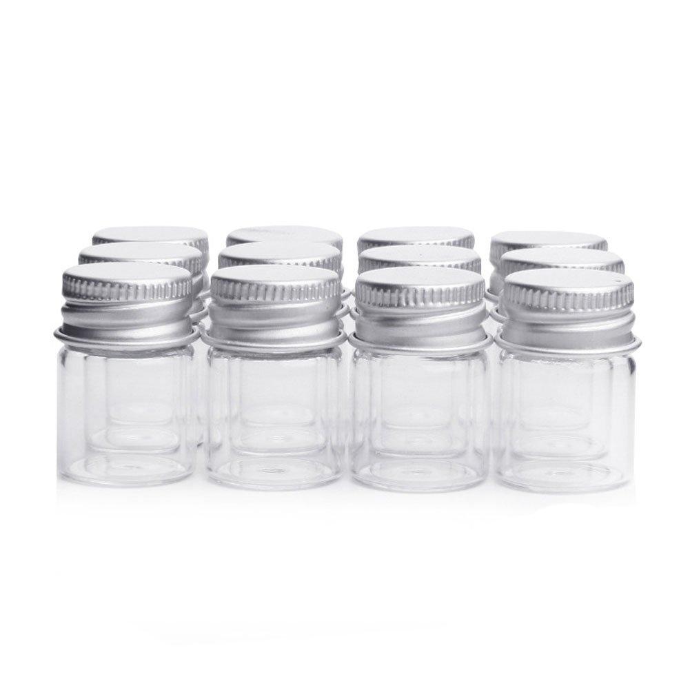 10pcs/5ml vacío muestra frascos de vidrio botellas viales Case Contenedor con tapones de rosca, transparente lansue