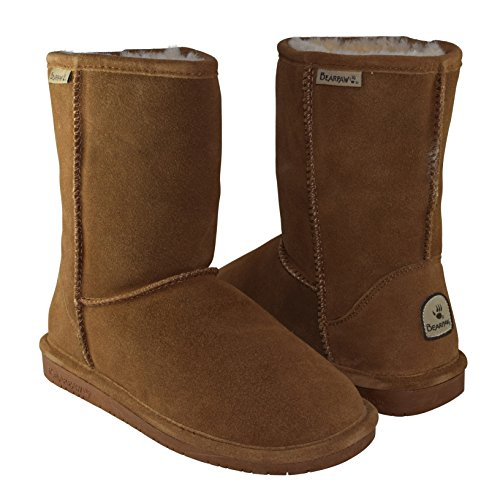 BEARPAW Women's Emma Short Shearling Boots 608-W Hickory (Chestnut) (8) (Ultimate Short Boots)
