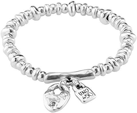 Bracelet in metal clad with silver composed of charms and white pearl.