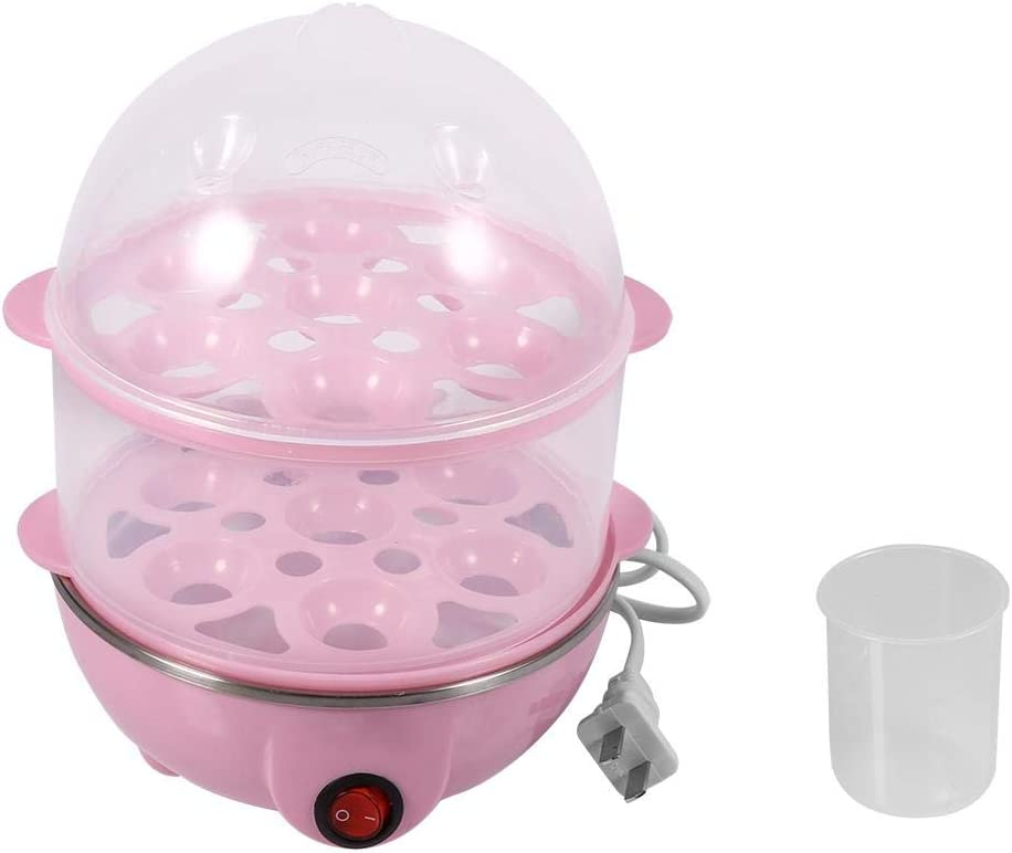 2-Layer Hard Boiled Egg Cooker, Electric Egg Steamer With Automatic Shut Off for Home Kitchen Use(Pink)