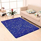 Nalahome Custom carpet tellation Astronomy Science Names of Stars Zodiac Signs Night Sky Violet Blue White Light Yellow area rugs for Living Dining Room Bedroom Hallway Office Carpet (6.5' X 10')