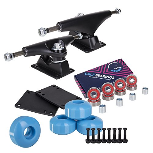 Cal 7 Skateboard Package | Complete Combo Set with 139 Millimeter / 5.25 Inch Aluminum Trucks, 52mm 99A Wheels & Bearings (Black Truck + Baby Blue Wheels)