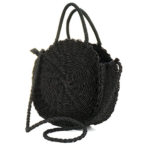 Handwoven Round Rattan Bag Shoulder Leather Straps Natural Chic Hand Round Straw Beach Bag (black)
