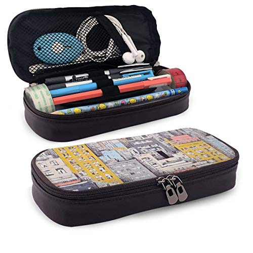 Pen Pencil Case PU Leather Cityscape Zippered Pouch for Girl Organizer Work Stationery Bag Holder Students Office…