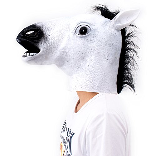 2win2buy Halloween Horse Mask Head Cosplay Costumes Party Masked Ball Latex Animal Mask White - Bojack Horseman Costume