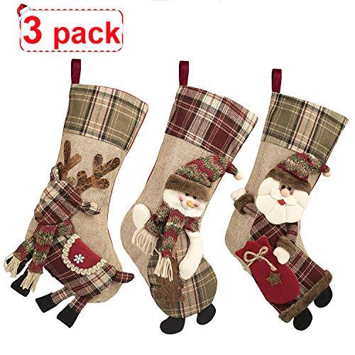 CUKENG 3 Piece Set Christmas Stockings, 18 Xmas Stockings Hanging, 3D Santa Claus/Snowman/Reindeer Character Santa Gifts Socks Party Favors Decorative Hanging Ornaments