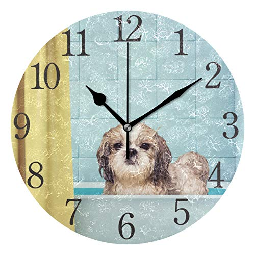 (Wall Clock Arabic Numerals Design Cute Wet Shitzu Dog Round Wall Clock for Living Room Bathroom Home Decorative )