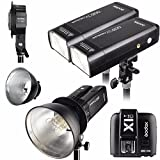 Godox 2pcs AD200 200Ws 2.4G TTL Flash Strobe Kit + X1T-C + AD-B2 + Bowens Reflector w/ EACHSHOT Cleaning Cloth for Canon