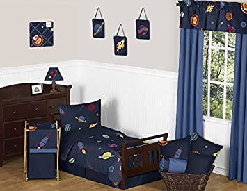 Space Galaxy Galactic Planets Rocket Ship 5 Piece Boys or Girls Toddler  Bedding Set