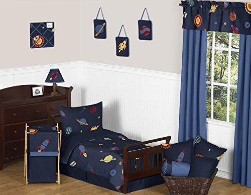 Space Galaxy Galactic Planets Rocket Ship 5 Piece Boys or Girls Toddler Bedding Set (Outer Space Hamper compare prices)
