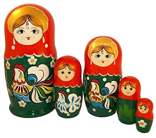 "[The Rooster Nesting Dolls - Wooden Russian Matryoshka Doll - Hand-painted Ethnic Gift - 5 pc Set of Stacking Doll - 6""] (Salt And Pepper Costumes Make Your Own)"