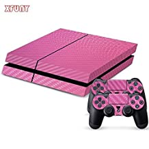 XFUNY(TM) Highest Quality Full Body Decal Carbon Fiber Protective Skin Cover Sticker for Sony PlayStation 4 Console System and Two Decals for PS4 DualShock Controller - Pink