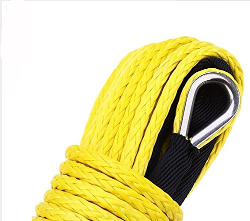 JUTEMILL Synthetic Recovery Winch Rope Cable 1/2Inch by 50ft Heavy Duty Yellow| Offroad Cable with Sheath for ATV UTV Jeep Towing Truck Tow/Trailer, Fishing Boat ()