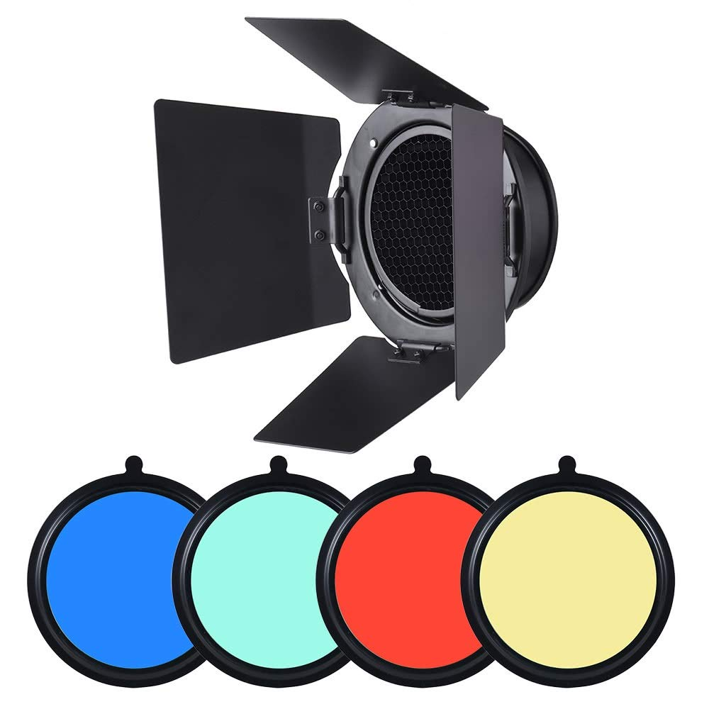 Mount Metal Bar Door Barn Door With Honeycomb Grid 4 Pieces Color Gel Filters 96mm Universal For Studio Photography Flash Light by Lixinke (Image #4)