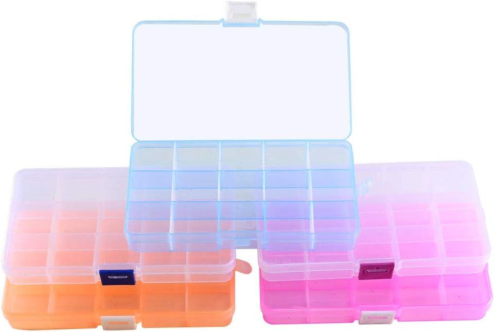 ETSAMOR Caja de Almacenamiento de Plástico 5pcs Cajas y organizadores de Joyas 15 Cuadrícula con Deflector Extraíble para Anillos Collares Pendientes