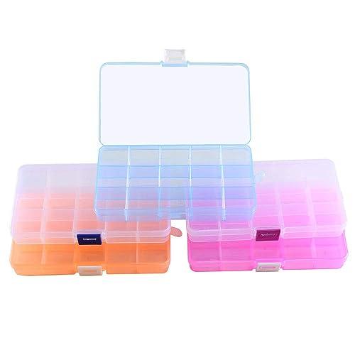 ETSAMOR Caja de Almacenamiento de Plástico 5pcs Cajas y organizadores de Joyas 15 Cuadrícula con Deflector Extraíble para Anillos Collares Pendientes: ...