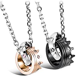 "Inblue 2-Pieces Stainless Steel Silver/Black/Gold Ring Pendant Necklace, 20"" & 23"" Chain"