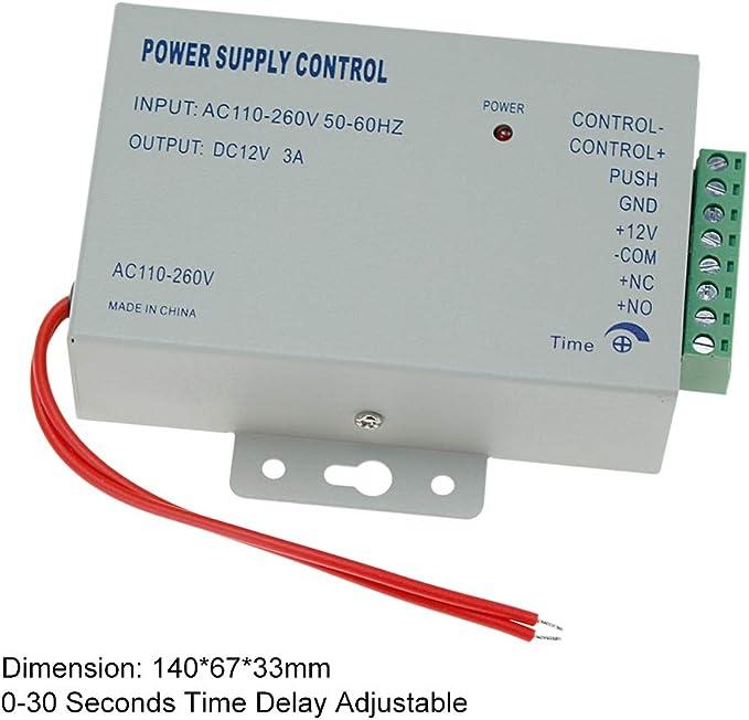 HFeng Kit Sistema Control Acceso Metal 125KHz RFID Teclado Control Acceso Lector EM Reader + Cerradura Perno Eléctrico + Fuente Alimentación DC12V / ...