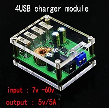 DC-DC 7-60V To 5V 5A 4USB Output Buck Converter Step-down Power Supply Module