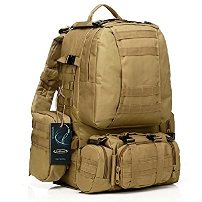 Large Tactical Backpack-Sport Outdoor Military Rucksack Hiking Camping Mountain Climbing Backpack Combined with 3 MOLLE Bags