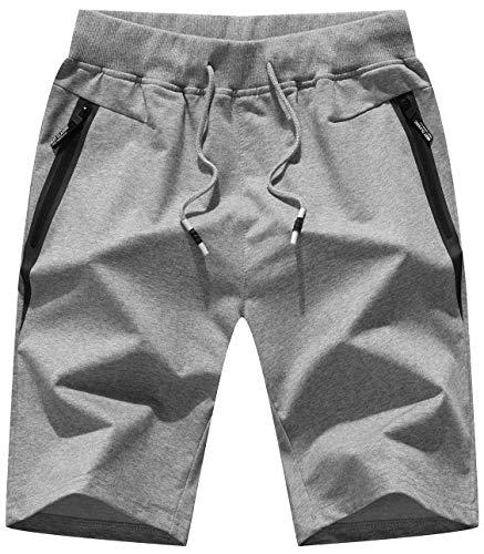 Drawstring Stretch Shorts - Mens Shorts Casual Stretch Waist Drawstring with Zipper Pockets Lightgrey US 34/Tag CN 4XL