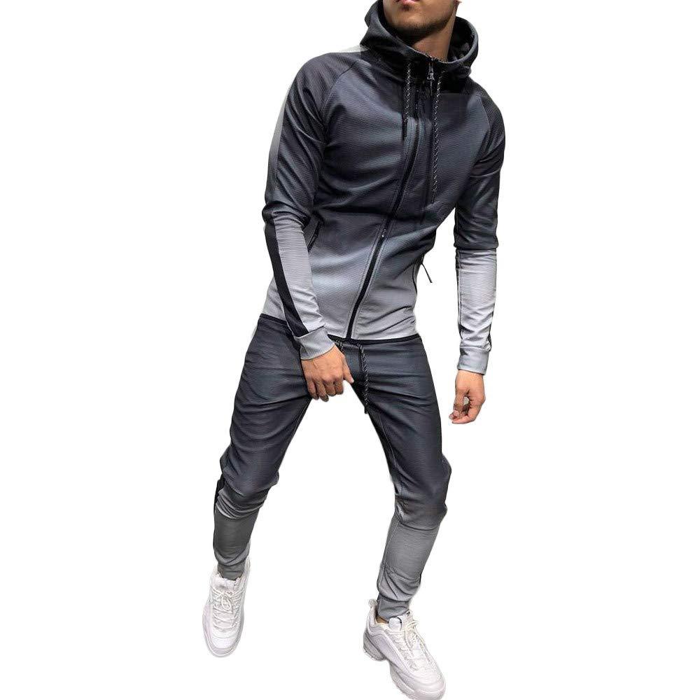 Uomo Autunno Inverno Packwork Stampare Felpa Pantaloni Imposta Sport Completo da Uomo Tuta Sportiva Abbigliamento Sportivo Uomo 11.48