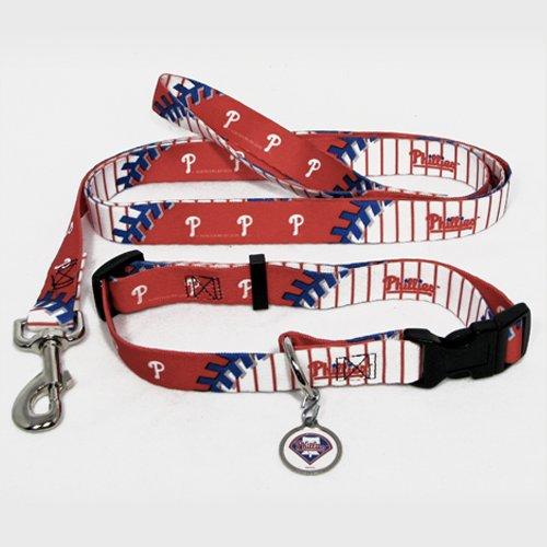 Philadelphia Phillies Pet Set Dog Leash Collar ID Tag MEDIUM