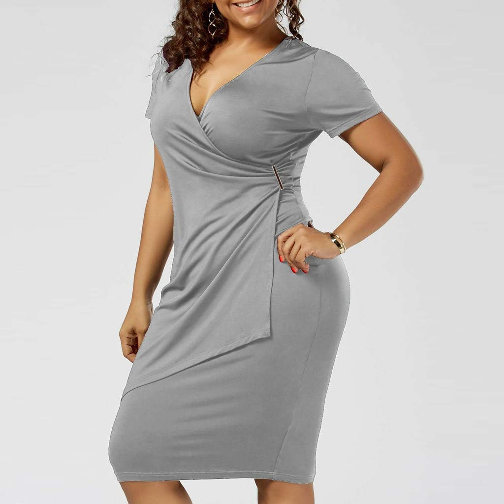 BESSKY Fashion Women Plus Size V-Neck Solid Short Sleeve Bodycon Asymmetrical Dress