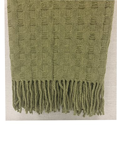 American Packing & Gasket Coral Reef Wool Blanket 50 Inches X 60 Inches Sage ()
