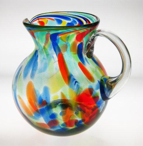 Mexican Glass Margarita or Juice Pitcher, Bola, Confetti ...