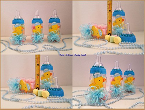 12 Baby Duck Fillable Bottles Baby Shower Boy Favors Prizes Blue Decorations ()