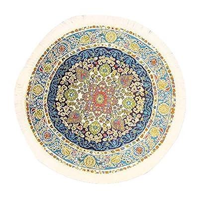 Melody Jane Dollhouse Round Turkish Carpet Miniature Blue Circular Rug White Fringe: Toys & Games