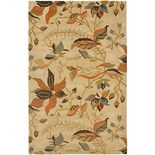 Safavieh Blossom Collection BLM913C Handmade Beige and Multi Premium Wool Area Rug (8' x 10')