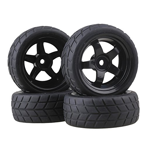 Flat Car 12mm Hub Wheel Rims 5 Spoke + Rubber Tires Pack of 4 (Rc Wheels Tires)