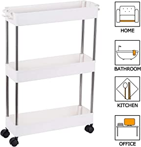 FIRECOW 3 Tier Slim Storage Cart Mobile Shelving Unit Organizer, Gap Storage Slim Slide Out Pantry Storage Rack for Kitchen Bathroom Laundry Narrow Places, White