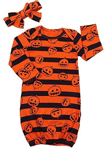 (Newborn Baby Boys Girls Pumpkin Print Sleep Bag Stripe Sleepsack Bag Coming Home with Headbands Size 0-6 Months/Tag70)