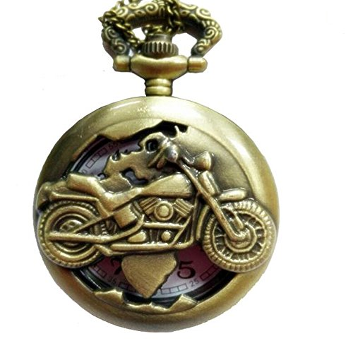 Steampunk Antique Motorcycle Pocket Watch Necklace Pendant Locket Steel Scales for Men Brass by HHP-Life