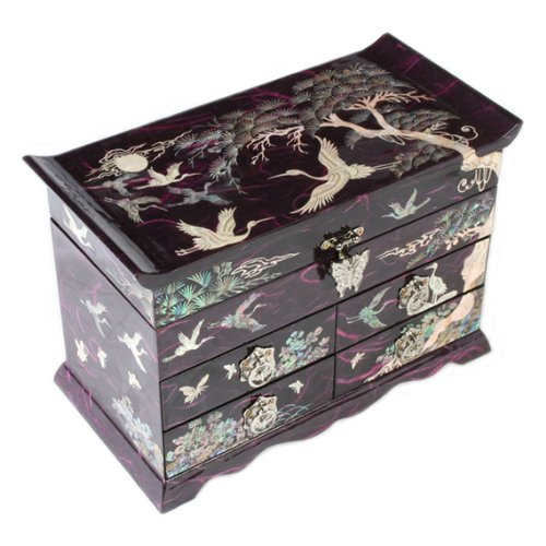 - Wooden Jewelry Box 4 Drawer Mirror Trinket Case Mother of Pearl Design Keepsake Treasure Gift Lacquer Chest Organizer (Purple)