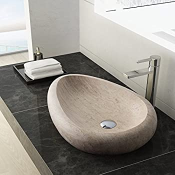 Incroyable MAYKKE Colstrip 24 Inch Oval Bathroom Stone Sink, Tan Natural Stone  Travertine Sinks For Bathroom