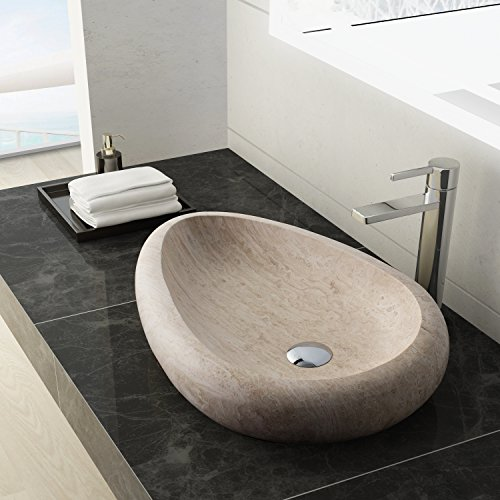 MAYKKE Colstrip 24 Inch Oval Bathroom Stone Sink, Tan Natural Stone Travertine Sinks for Bathroom Vanity, Modern Vessel Sink in Cream Travertine, (Elite Pedestal Vanity)