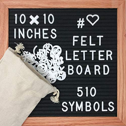 Black Felt Letter Board 10x10 inches - 510 Letters and Storage Bag Included - Solid Oak Frame - Changeable Letter Sign - Word Message Board
