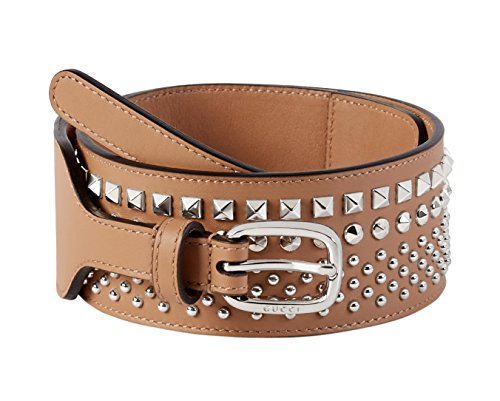 Gucci Women's Beige Studded Leather Wide Waist Belt, 34, Beige by Gucci