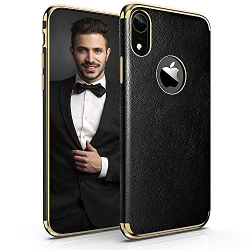 LOHASIC iPhone XR Leather Case, Slim fit Premium Leather Luxury Electroplating Soft Flexible TPU Hybrid Bumper Non-Slip Grip Shockproof Full Body Protective Cover Cases for iPhone XR 6.1 inch (Black) ()