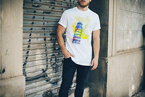 Schiefe Turm von Pisa Herren T- Shirt , Stylisch aus Paul Sinus Aquarell Color