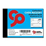 Cherry Carbonless NCR Money Receipt Duplicate Book with Loose-Leaf Writing Shield, A6 (105mm x 148mm) 50 Sets, Numbered 01-50